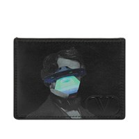 Valentino X Undercover V Face Ufo Leather Card Holder Black