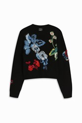 Anthony Vaccarello Flower Knit Sweater Black