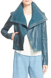 Women's Veda 'Max Classic' Leather Jacket Teal