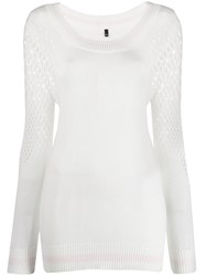 Mr And Mrs Italy Mesh Detail Sweater White