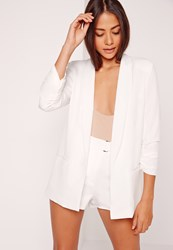 Missguided Gathered Sleeve Tailored Blazer Suit White White