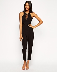 Michelle Keegan Loves Lipsy Jumpsuit With Lace Halterneck Black