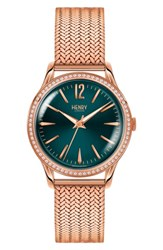Henry London Stratford Mesh Strap Watch 34Mm Rose Gold Mallard Rose Gold