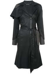 Thomas Wylde Belted Trench Coat Cotton Cupro Black