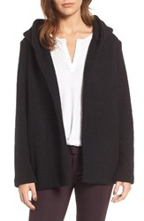 James Perse Women's Hooded Boucle Open Jacket