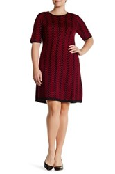 London Times Chevron Fit And Flare Sweater Dress Plus Size Red
