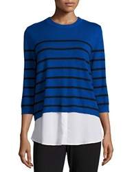 Karl Lagerfeld Zipper Accent Striped Sweater Royal Blue