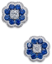 Macy's Sapphire 5 8 Ct. T.W. And Diamond 1 10 Ct. T.W. Cluster Stud Earrings In 14K White Gold