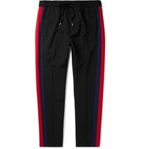 Gucci Tapered Striped Wool And Mohair Blend Twill Drawstring Trousers Black