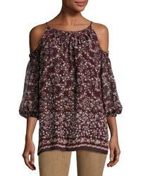 Max Studio Cold Shoulder Floral Print Top Bordeaux S