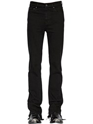 Balenciaga Distressed Slim Cotton Blend Jeans Black