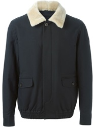 A.P.C. Shearling Collar Bomber Jacket Blue