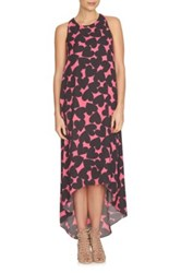 Cynthia Steffe Heart Print Hi Lo Maxi Dress Red