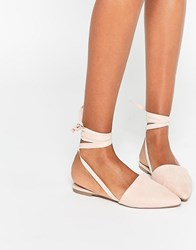 Asos Life Of The Party Lace Up Pointed Ballet Flats Nude Beige