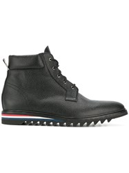 Thom Browne Cropped Blucher Boot In Pebble Grain Leather Black