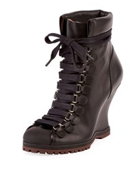 Chloe Leather Lace Up Wedge Hiker Bootie Black