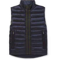 Hugo Boss Reversible Grosgrain Trimmed Quilted Shell Down Gilet Navy