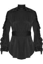 Ellery Audacity Ruffle Trimmed Stretch Silk Blouse Black