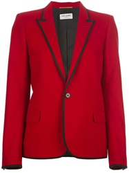 Saint Laurent Contrast Trim Blazer Red