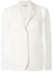 Nina Ricci Panelled Tweed Blazer White