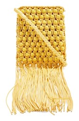 Topshop Beaded Fringe Crossbody Bag Yellow
