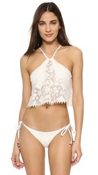 Blue Life Embroidered Halter Crop Bikini Top White Sands