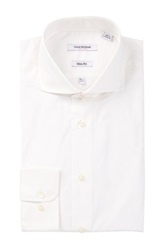 Isaac Mizrahi White Solid Long Sleeve Slim Fit Dress Shirt