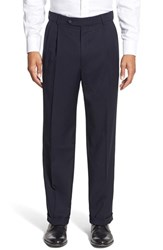 Men's Big And Tall Ballin Pleated Solid Wool Trousers Navy