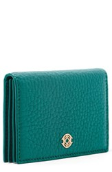Dagne Dover Accordion Leather Card Case Blue Green Palm