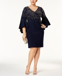 Betsy And Adam Plus Size Embellished Bell Sleeve Dress Navy Gunmetal