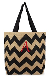 Cathys Concepts Personalized Chevron Print Jute Tote Black Natural A