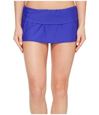 Athena Cabana Solids Maliah Flared Skirted Pants Indigo Women's Swimwear Blue