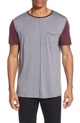 Men's The Rail Contrast Short Sleeve T Shirt Grey Shade Burgundy Stem