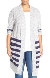 Plus Size Women's Caslon Stripe Long Cardigan Navy Ivory Stripe