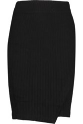 Splendid Wrap Effect Ribbed Jersey Skirt Black