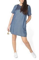 Evans Plus Size Women's Embroidered Chambray Tunic Dress Blue