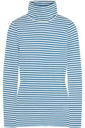 J.Crew Tissue Striped Cotton Jersey Turtleneck Top Blue