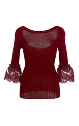 Oscar De La Renta Three Quarter Length Sleeve Knit Top Burgundy