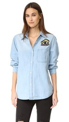 Rails Cleopatra Button Down Shirt Distressed Wash Patch