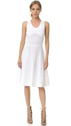 Prabal Gurung Sleeveless Knit Flared Skirt Dress White