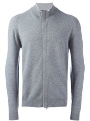 Barba Concealed Zip Cardigan Grey