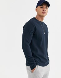 Burton Menswear Long Sleeve Top In Navy Blue