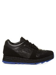 Stella Mccartney Macy Lace Panel Faux Leather Trainers Black