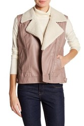 Wild Pearl Faux Leather Moto Vest Pink