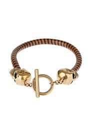 Alexander Mcqueen Woven Leather And Skull Clasp Bracelet