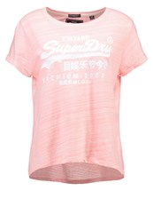 Superdry Print Tshirt Candy Coral Injected White Rose