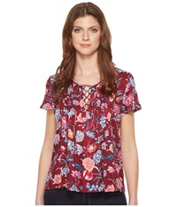 Lucky Brand Floral Peasant Red Multi Women's Short Sleeve Pullover