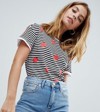 Noisy May Petite Stripe And Spot Print T Shirt White Red Black