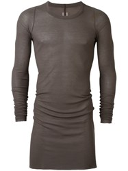 Rick Owens Longsleeved Sheer Ribbed T Shirt Grey