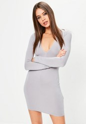 Missguided Grey Plunge Long Sleeve Bodycon Dress Ice Grey
